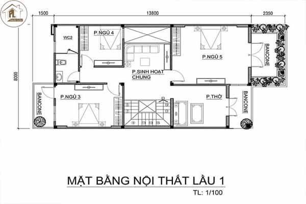 Thiết nhà mái thái với 3 phòng ngủ 8x14m