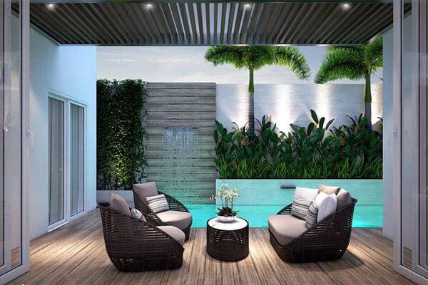 Kết hợp bể bơi và sofa