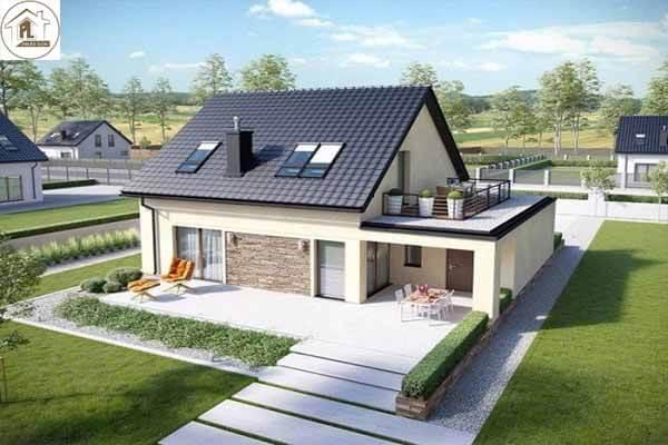Mẫu nhà đẹp với thiết kế sử dụng mái ngói