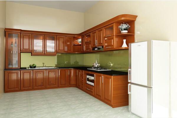 Mẫu tủ bếp sử dụng chất liệu gỗ xoan đào