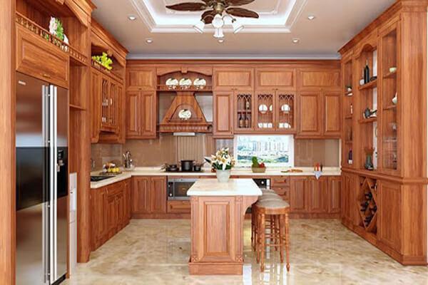 Sản phẩm tủ sử dụng chất liệu gỗ gõ đỏ