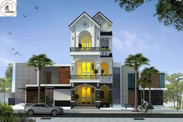 Thiết kế nhà 3 tầng với phong cách tân cổ điển