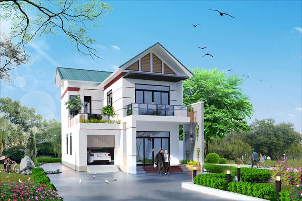 Nhà mái thái 2 tầng với thiết kế đơn giản