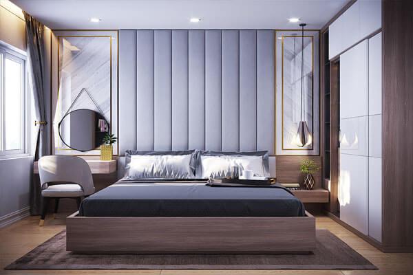 Thiết kế phòng ngủ đẹp sử dụng gam màu xám tối giản