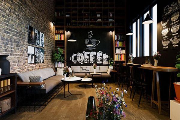 Thiết kế quán cà phê sử dụng phông xốp nhẹ nhàng, cổ điển